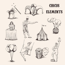 Vector Hand Drawn Circus Elements Set. Acrobat, Elephant, Popcorn, Baloons, Cilinder Hat And Magic Wand Isolated On White Background Illustration