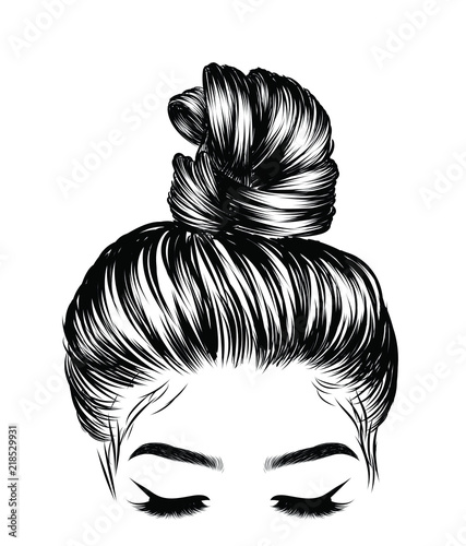 Fototapeta Woman with stylish classic bun with perfect eyebrow shaped and full. Illustration of business hairstyle with natural long hair. Hand-drawn idea for greeting card, poster, flyers, web, print for t-shir obraz