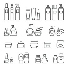 Cosmetic Bottles Related Icons...