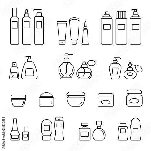Fototapeta Cosmetic bottles related icons: thin vector icon set, black and white kit obraz