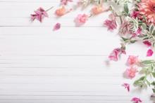 Beautiful Flowers On White Woo...