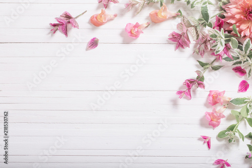 Canvas Prints Floral beautiful flowers on white wooden background