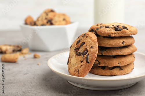 Garden Poster Cookies Plate with tasty chocolate cookies on gray table