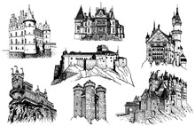 Graphical Set Of Sightseeing Isolated On White, Famous Buildings Of The World,vector Sketch