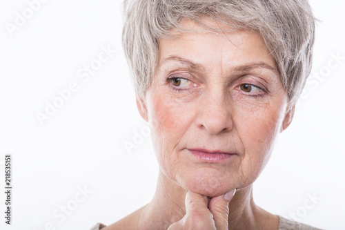beautiful mature woman is thinking Canvas Print