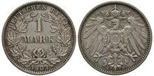Germany German Silver Coin 1 One Mark 1903, Denomination Within Circular Wreath Of Oak Branches, Date Below, Imperial Eagle With Collar Of The Order And Shield On Chest, Crown With Ribbon Above,