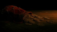 Bag Of Gold Coins In Candlelight
