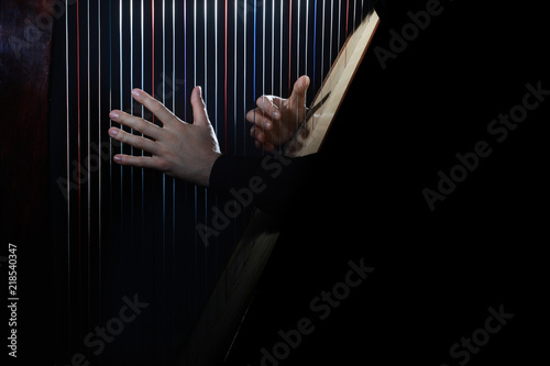 Photo sur Aluminium Musique Harp player. Hands playing Irish harp strings
