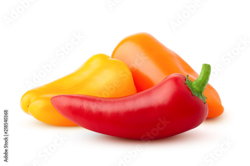 Fotografía  Three mini sweet peppers, red, yellow, orange, isolated on a white background, c