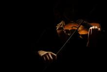 Violin Player. Violinist Hands Playing Violin