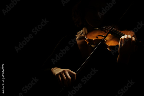 Stickers pour porte Musique Violin player. Violinist hands playing violin