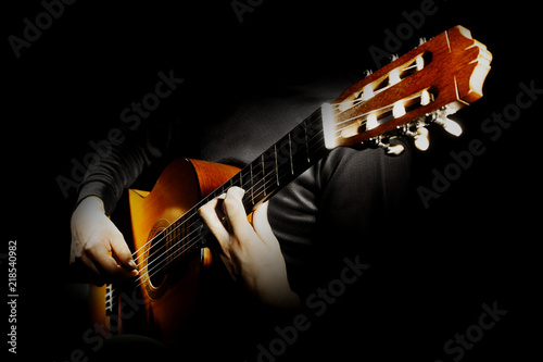 Fotografie, Obraz  Acoustic guitar player. Classical guitarist