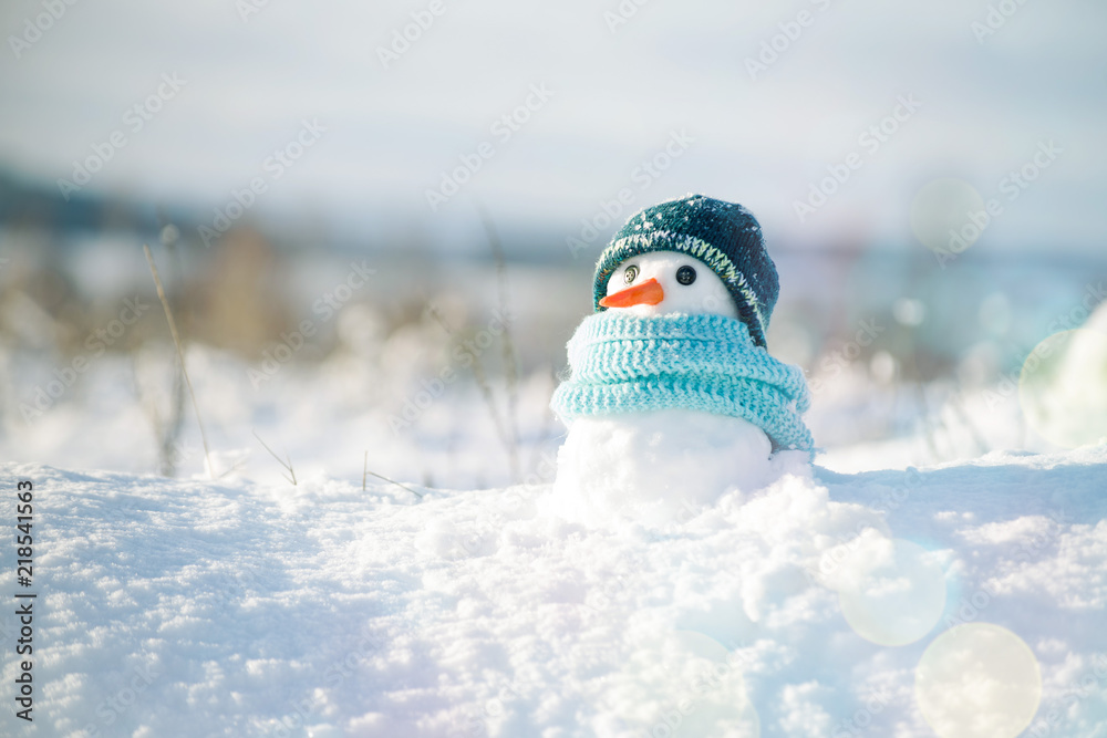 Fototapety, obrazy: Little snowman in a cap and a scarf on snow in the winter. Christmas card with a lovely snowman, copy space