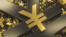 Golden Yuan Or Yen Sign On Top...