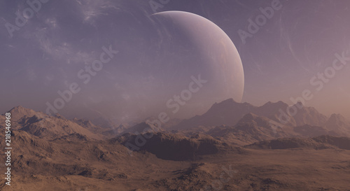 Tuinposter Lavendel 3d rendered Space Art: Alien Planet - A Fantasy Landscape