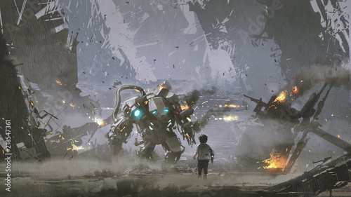 scene of the boy looking at the damaged robot who protected him from the war, di Wallpaper Mural