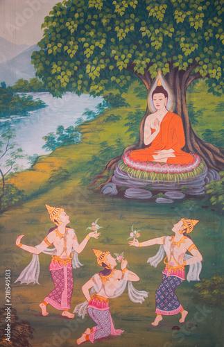 Fotografia  Buddhist painting detail inside Wat Chanasongkhram Ratchaworamahawihan (Wat Chan