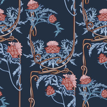 Seamless Pattern With Thistle...