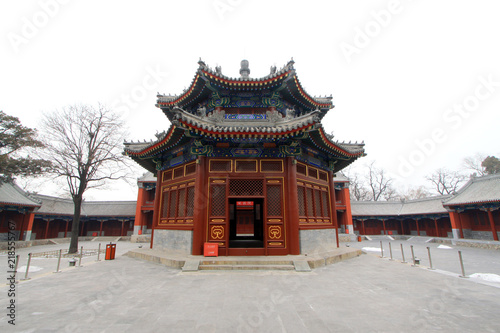 Manjusri Pavilion in the Zhengjue Temple in Old summer palace ruins park, Beijing, China