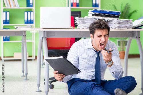 Fototapeta Frustrated businessman stressed from excessive work obraz na płótnie