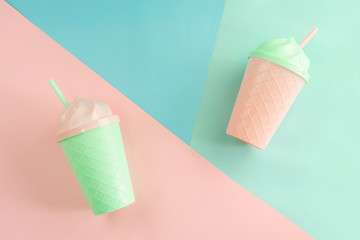 Fancy glass on pastel colors background, Summer concept