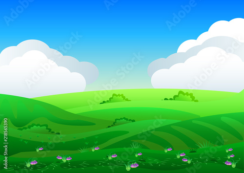 Poster Pool Beautiful fields landscape with a dawn, green hills, bright color blue sky, background in flat cartoon style.