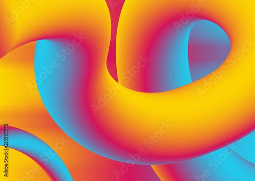Fotobehang Pop Art Colorful gradient 3d wavy liquid shapes background