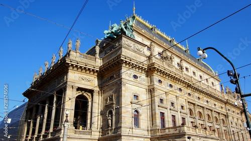 Spoed Foto op Canvas Theater Teatr Narodowy w Pradze, stolicy Czech