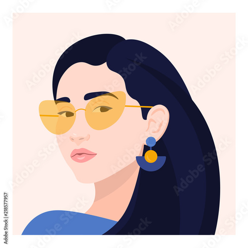 Portrait of a woman. The head of a girl. Avatar. Minimalist. Flat. Vector illustration Wall mural