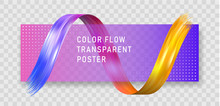 Colorful Flow Poster On Checkered Gray Background.