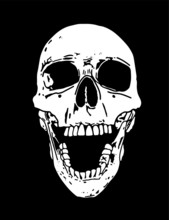 A Laughing Human Skull Illustration Hand Drawn On A Black Background