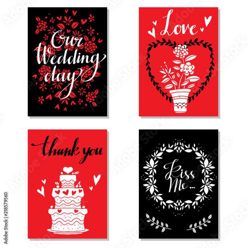 Photo  Greeting valentines day cards. Wedding invitation