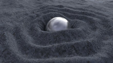 Metal Sphere On A Rough Stone Surface