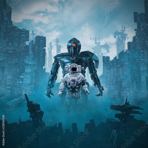 Shadow of the cyclops / 3D illustration of science fiction scene astronaut guard Wallpaper Mural