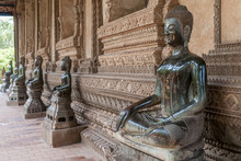 Beautiful Buddha Statues In The Ho Pha Keo Temple In Vientiane, Laos