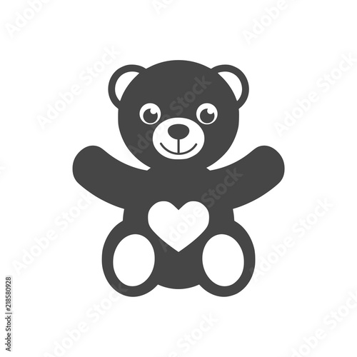Cute smiling teddy bear icon or logo #218580928