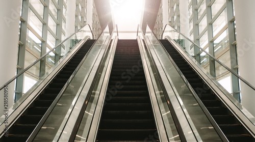 Escalator in modern building Canvas Print
