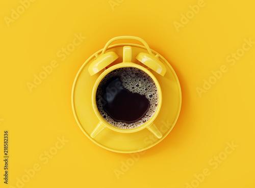 Zegar na żółtym tle. kreatywny pomysł. minimalna koncepcja