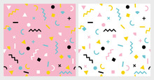 Abstract Geometric Vector Patterns Set. Retro Memphis Style.Blue, Pink, Yellow, White And Black Elements.White And Pink Background. Seamless Design. Circles, Squares, Triangles, Zig Zags And Stripes.