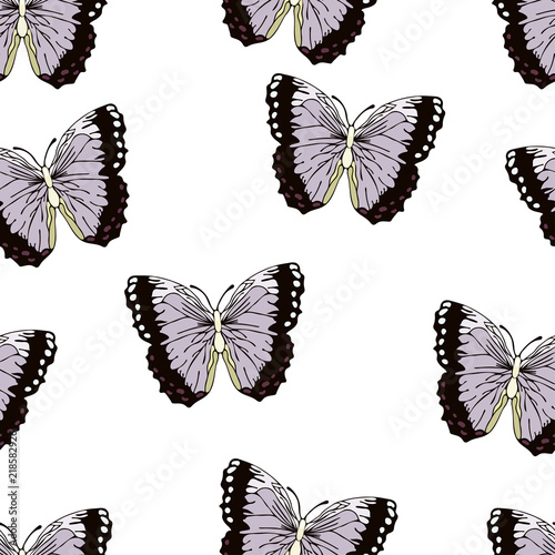 Butterfly Cartoon Drawing Seamless Pattern Vector Background Abstraction Drawn Insect With Lilac Purple Black Wings On White Background For Fabric Design Textile Print Wallpaper Decorating Buy This Stock Vector And Explore