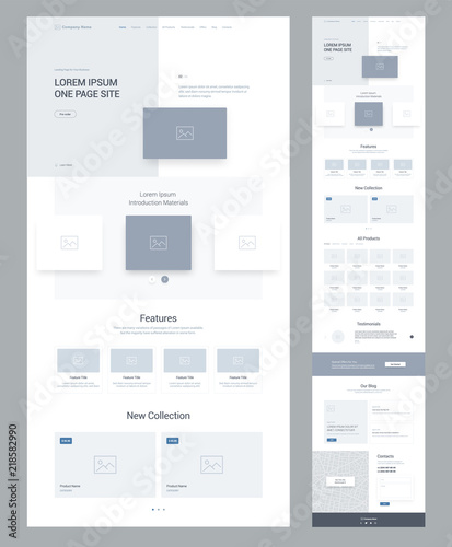 Canvas-taulu One page website design template for business