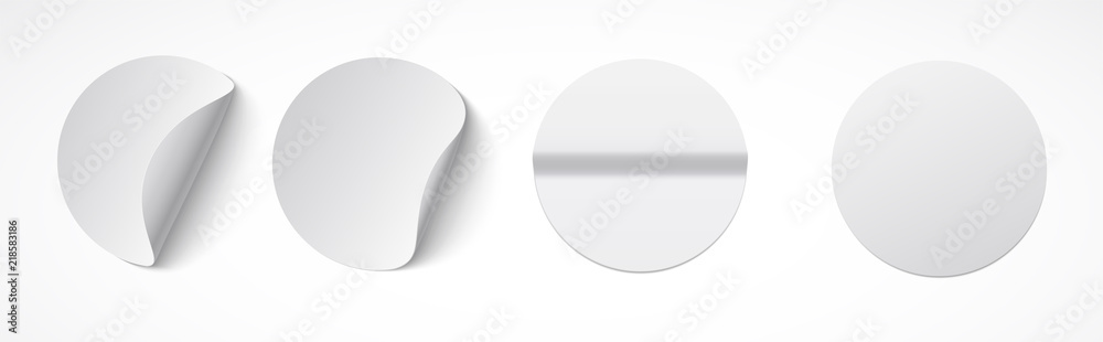 Fototapety, obrazy: Set of round white sticky labels with bent edges. Empty mockup for memos, price tags, gluing.