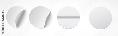 Set of round white sticky labels with bent edges Wallpaper Mural