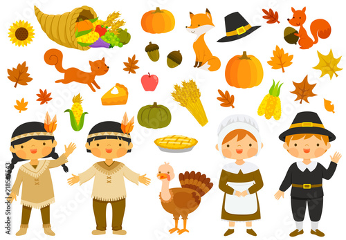 Photo Set of illustrations for thanksgiving with characters and holiday symbols