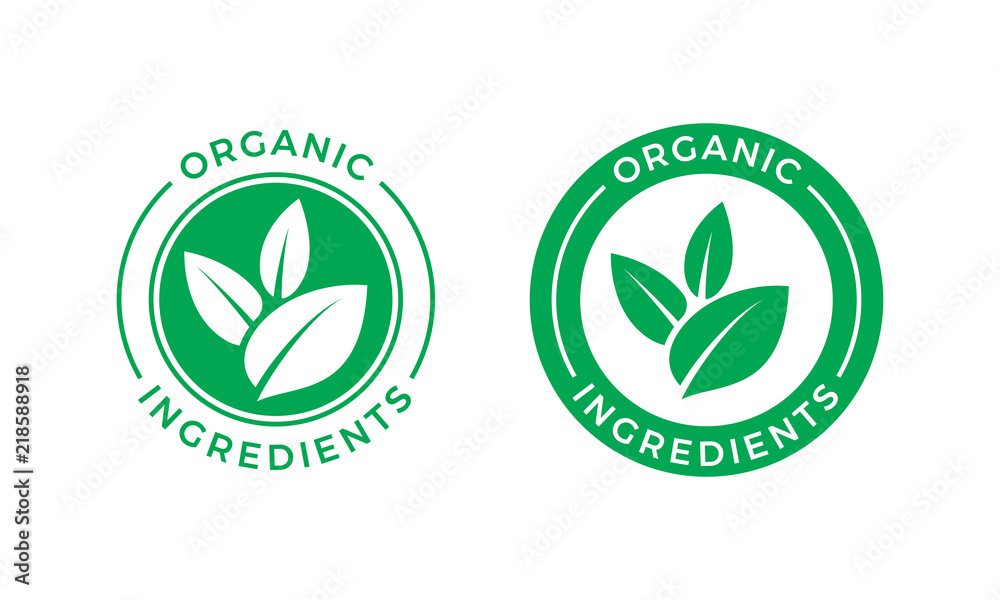 Fototapety, obrazy: Organic ingredients green leaf vector label icon