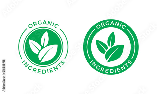 Fotografía  Organic ingredients green leaf vector label icon