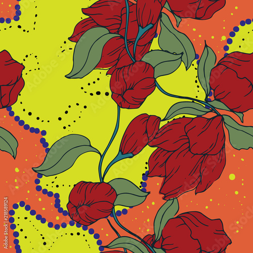 Foto op Canvas Bloemen Elegance pattern with flowers and leaf.Floral vector illustration.