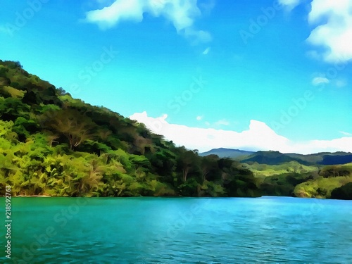 Foto op Aluminium Blauw Oil painting. Art print for wall decor. Acrylic artwork. Big size poster. Watercolor drawing. Modern style fine art. Beautiful tropical exotic landscape. Paradise. Resort view. Mountain landscape.