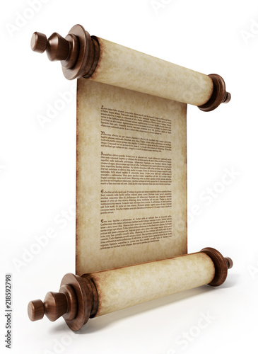 Old scroll with lorem ipsum text isolated on white background. 3D illustration © Destina