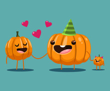 Cute Family Pumpkin Character. Vector Cartoon Halloween Illustration Isolated On Background.